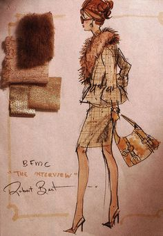 """The Interview"" Barbie design sketch w/ swatches by Robert Best"