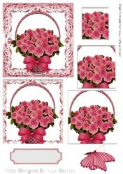 Pretty pink roses roses in a basket  with butterfly pyramids on Craftsuprint - View Now!