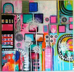 Playground35 x 35 inch acrylic mixed media by RobinMeadDesigns
