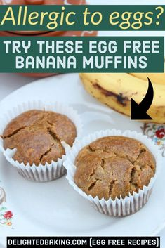 Egg free, easy and simple basic banana muffin recipe. These muffins are whole wheat muffins and are ideal for breakfast, after school snack and evening snack. Healthy Muffin Recipes, Fun Baking Recipes, Egg Free Recipes, Sweets Recipes, Baby Food Recipes, Eggless Banana Muffins, Chocolate Chip Muffins, Chocolate Chip Recipes, Eggless Recipes