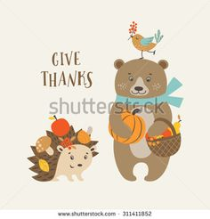 Cute Thanksgiving greeting card with happy bear, hedgehog and bird.