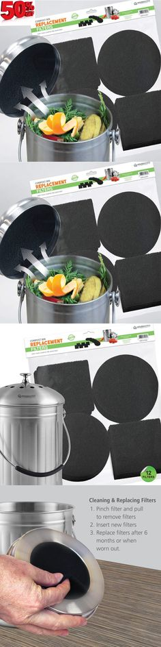 10 Pieces Activated Carbon Compost Bin Filter Refill Round and Square Black