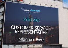 Vrei să lucrezi la o bancă de prestigiu? Millennium Bank pune la bătaie mai multe poziții de Customer Service Representative în București, Brașov și Constanța. Aplică acum pe SmartDreamers: http://smartdreamers.com/ro/job-Customer-Service-Representative-Banca-Millennium-S-A-/2507/