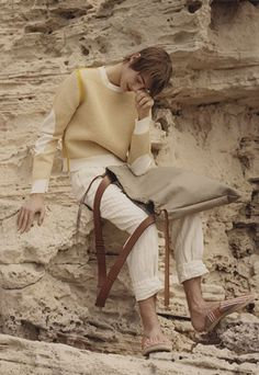 For its latest lookbook, Loewe has presented a vision of a surreal boat trip with earthy, loose-fitting apparel fit for an adventure.
