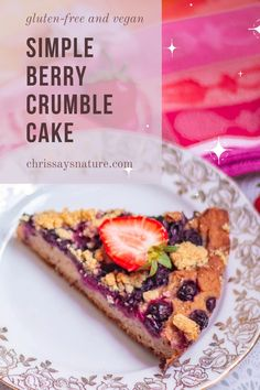 The whole cake is fragrant, moist, and perfect for a Sunday afternoon. The process of making it is so easy! This cake works the best with berries, but don't be afraid to change things up! Add peaches, plums, or apricots! I'm sure it will be delicious as well. #crumble #cake #healthy #fall