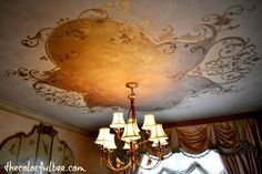doing a decorative pattern on my dining room ceiling, painting, walls ceilings, After the ceiling completes the room