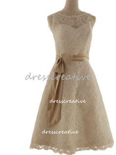 A Line Short Lace Wedding Dress Knee Length Bow Belt