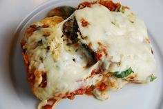 Eggplant Parmesan Recipe -5 Points + One of my favorite comfort food dishes, a traditional eggplant parmesan recipe, can really rack up the Weight Watchers Points. But my light Eggplant Parmesan has all the delicious and traditional flavors but for just 5 Points + per serving! And did I mention that this is made with three kinds of cheese? Oh yeah…and the eggplant is breaded. It is DELICIOUS.