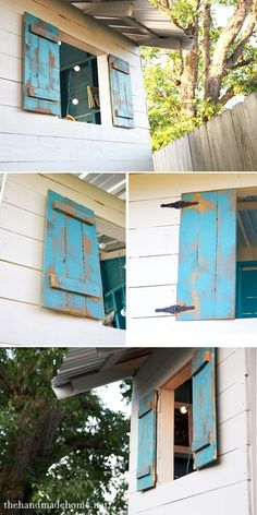 building a handmade hideaway : railings + shutters {how to build a fort}the handmade home Playhouse Windows, Outside Playhouse, Build A Playhouse, Playhouse Outdoor, Pallet Playhouse, Playhouse Ideas, Garden Playhouse, Pallet Patio, Pallet Shutters