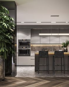 Residential interior with natural materials on Behance Luxury Kitchen Design, Contemporary Kitchen Design, Best Kitchen Designs, Interior Design Kitchen, Contemporary Interior, Modern Kitchen Interiors, Interior Design Examples, Residential Interior Design, Luxury Interior Design
