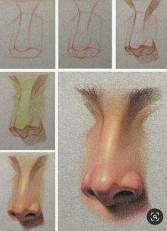 Pencil Art Drawings, Realistic Drawings, Art Drawings Sketches, Pencil Sketching, Art Illustrations, Nose Drawing, Drawing Faces, Human Face Drawing, Human Art