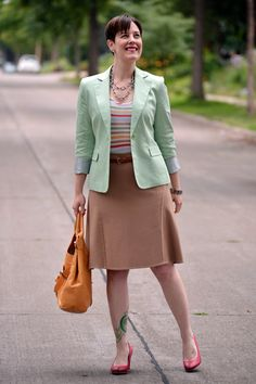 Already Pretty outfit featuring mint blazer, multicolored stripe tank, camel skirt, red ECCO pumps, skinny tan belt, Foley + Corinna Jet Set tote