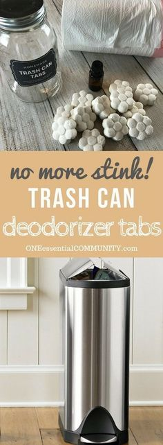 Freshen and eliminate trash can odors naturally with these easy-to-make homemade essential oil trashcan deodorizing tabs. {no more stinky, smelly trash cans, garbage cans, wastebaskets} essential oil trash can odor recipe