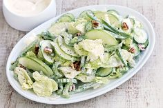 This side salad recipe is just the tip of the iceburg using lettuce, cucumber and apple.