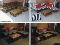AWESOME DIY Furniture On A BudgetMake old crates into romantic outdoor furniture for cheap :) don& bother buying expensive wicker :) this is way more original and you can add ANY cushions you want! Budget Patio, Patio Diy, Patio Ideas, Yard Ideas, Diy Pallet Couch, Pallet Furniture, Outdoor Furniture, Outdoor Decor, Outdoor Seating