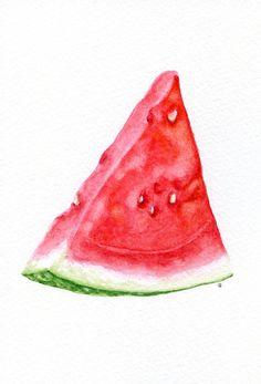 Watermelon - ORIGINAL Painting (Food Illustration, Still Life, Watercolour Food Wall Art) 5x7
