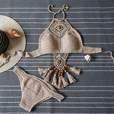 2017 Vintage Tassel Crochet Bikini Set Summer Style Swimwear Women Trikini Halter Brazilian Bathing Suit Vintage Maillot De Bain