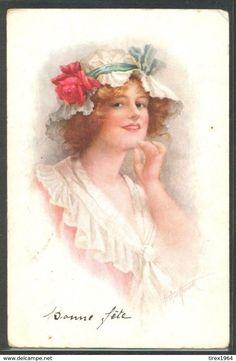 KU171 GLAMOUR A/s Arthur HAWORTH FEMME CHAPEAU BEAUTIFUL LADY Red ROSE HAT - Illustrateurs & Photographes