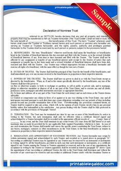 Free Printable Declaration Of Nominee Trust  Sample Printable