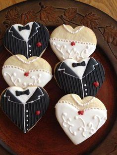 www.weddbook.com everything about wedding ♥ Wedding dress & tuxedo cookie favors by CookiesbyBecky #weddbook #wedding #cookie #yummy