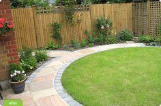 garden path - large slabs with contrasting border - Recycled Garden Ideas Gravel Garden, Garden Pests, Back Gardens, Small Gardens, Shrubs For Borders, Circular Lawn, Lawn Edging, Recycled Garden, Small Garden Design