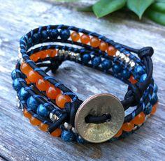 Blue and orange spirit bracelet. War eagle Auburn colors.