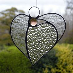 Abstract Stained Glass ornament Angel Heart in by neilsglass