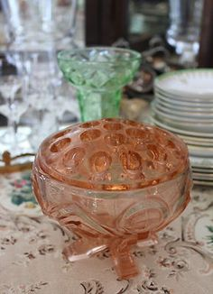 PINK DEPRESSION GLASS Vase and Frog…I have one of these with a handled plate. Belonged to my maternal grandmother  :-)