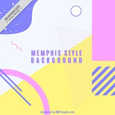 Memphis background in soft colors Free Vector