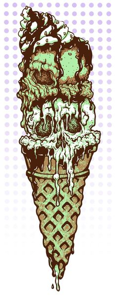 Survey of Ice Cream Entities Creepy Art, Weird Art, Skull Tattoos, Body Art Tattoos, Arte Dope, Der Joker, Frida Art, Skull And Bones, Skull Art