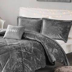 House of Hampton Nussbaum Comforter Set Colour: Grey, Size: Twin/Twin XL Comforter + 1 Sham + 1 Throw Pillow Twin Xl Comforter, Bedding Sets, Console, Velvet Duvet, Bed Styling, Duvet Cover Sets, Decoration, Bedroom Decor, Master Bedroom