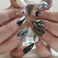 Mode Salon Nail art by Shelley! Silver Nails, Black Nails, Hair Color And Cut, Long Nails, Hair Type, Nailart, Las Vegas, Salons, Nail Designs