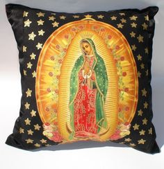 VintageGaleria - Pillow Mexican Virgin Mary Guadalupe Throw Pillow. $16.00