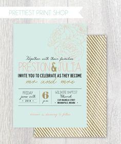 Printable wedding invitation  Pink and Mint  by PrettiestPrintShop
