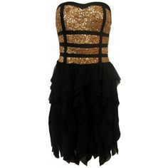 Gold band sequin dress | Black and gold sequin dress ($53) ❤ liked on Polyvore