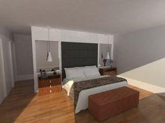 Quarto de Casal com parede aconchegante. Projeto: Escritório de Arquitetura Servino e Assed Renderização: Estúdioi - Desenhos em 3D e Renderização de Imagens para Arquitetura