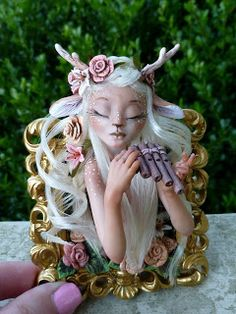 Mystic Reflections: Don't Fawn over Her too much Fawn Over, Polymer Clay Creations, Biscuit, Mystic, Garden Sculpture, Sculptures, Princess Zelda, Fantasy, Mermaids