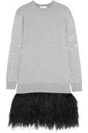 Feather-trimmed cotton-blend dress