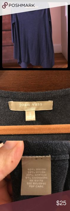 Joan Vass Size S asymmetrical sweater top Runs large. Like new. Very comfy Joan Vass Sweaters Crew & Scoop Necks