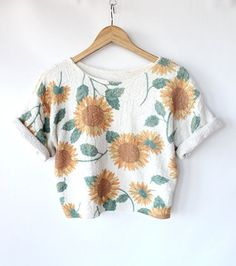 Vintage 80s Sunflower Print Knit Cropped Top // Short Sleeve Spring Floral Sweater ($32.00) - Svpply