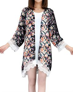 4c8c96a4b5 Women s Sheer Chiffon Blouse Loose Tops Kimono Floral Print Cardigan    To  view further for this item