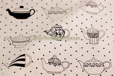 Vintage Chic Teapot Collection, Black Mini Dots-Linen Cotton Blended Fabric