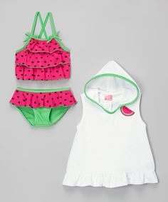 Look at this Sol Swim Pink Watermelon Tankini & Hooded Cover-Up - Infant & Toddler on #zulily today!