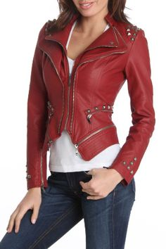 e56619e1f handmade women red leather Jacket with stud and double zip front, women red Leather  Jacket classic double zip up closure