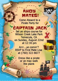 Pirate Treasure Map - Birthday Party Invitations