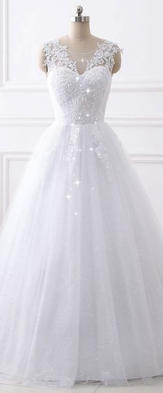 In Stock Fascinating Tulle & Sequin Tulle Jewel Neckline A-line Wedding Dress With Beaded Lace Appliques