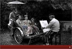 Peranakan ladies having their portraits drawn