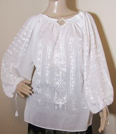 Indiana Jones blouse, Marion Ravenwood blouse top m Raiders costume size S - M - GreatBlouses.com White Peasant Blouse, Ethnic Dress, Blouse Dress, White Silk, Silk Top, Hand Embroidery, Hand Weaving, White Dress, Tunic Tops