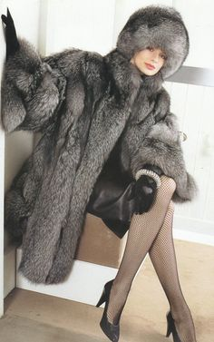 Silver Fox Fur Coat & Hat... aka official uniform of the Fur Hat Appreciation Society & Book Club