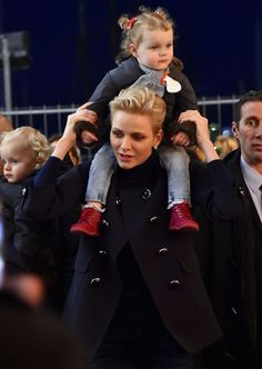 Princess Charlene and her daughter Princess Gabriella during the inauguration of the Christmas Village in Monaco on 3 December 2016.